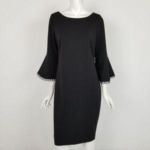 Calvin Klein Black Bell Sleeve Career Sheath Dress
